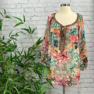 Fig And Flower Multicolor Watercolor Floral Blouse
